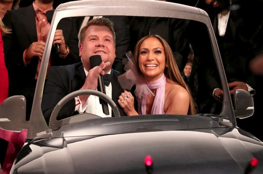James Corden and Jennifer Lopez both engaged in soical commentary during Sunday's 59th annual Grammy Awards telecast.