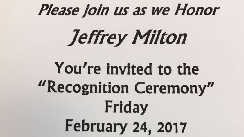 Wording from the invitation to a ceremony honoring resident Jeffrey Milton at the CoreCivic Community's Male Community Re-entry Program in San Diego.