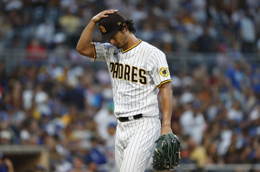 Padres pitcher Yu Darvish against Dodgers Thursday.