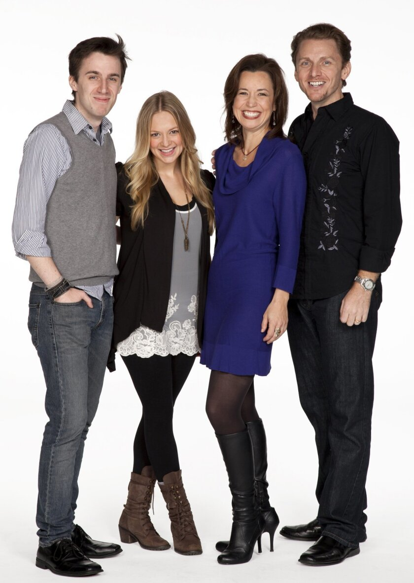 Andrew Mueller (young Ben), Jenni Barber (young Molly), Michelle Duffy (Molly) and Jason Danieley (Ben) star in new musical with book and lyrics by Steven Sater and music by Burt Bacharach. Photo Henry DiRocco