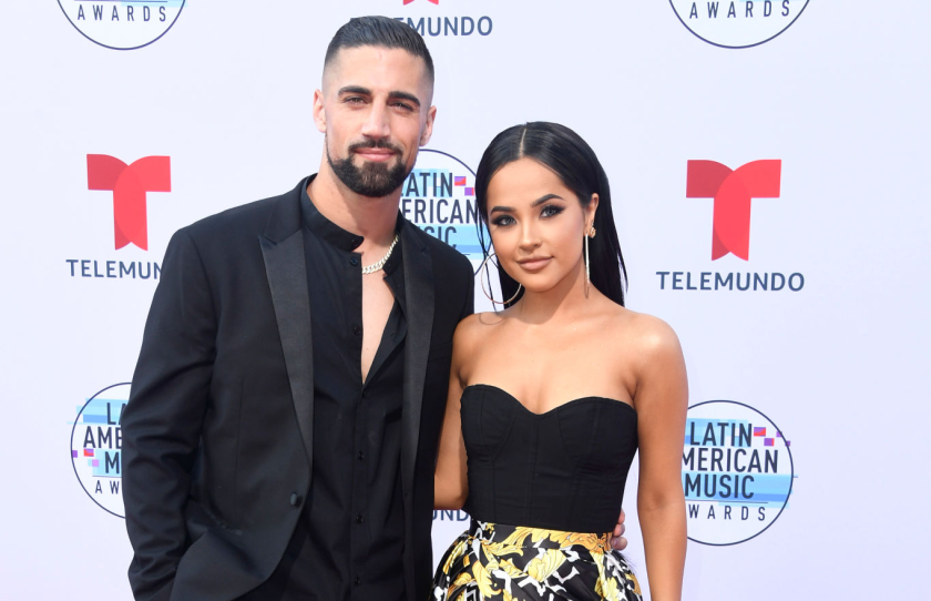 Galaxy midfielder Sebastian Lletget and Becky G attend the Latin American Music Awards.