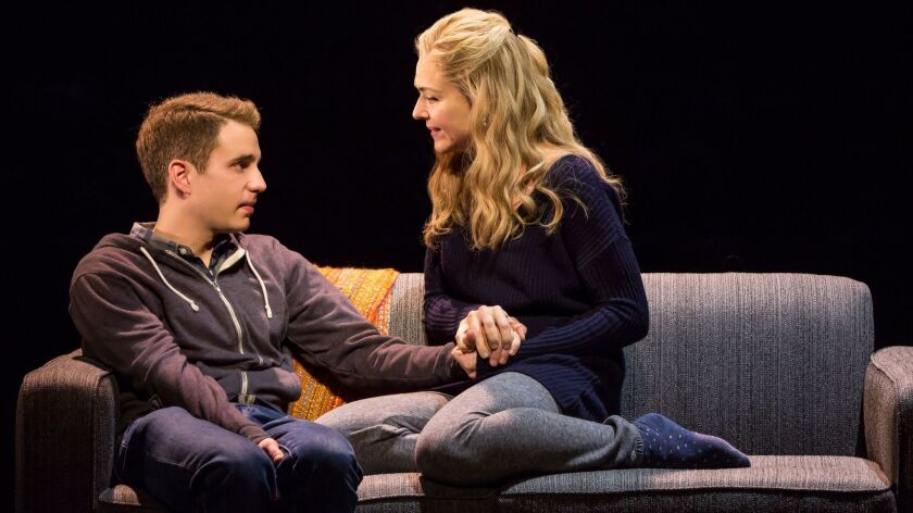 "Ben Platt and Rachel Bay Jones in ""Dear Evan Hansen."" Audible's offerings include a behind-the-scenes conversation with the show's creators."