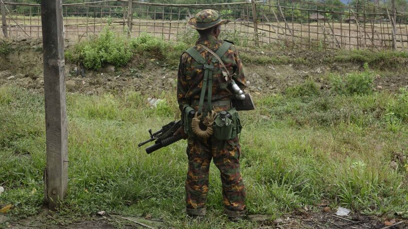 A soldier stands guard in Myanmar's Rakhine state on Jan. 2.