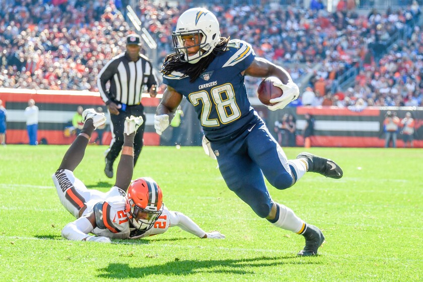 Chargers running back Melvin Gordon scores a touchdown against the Browns in October.