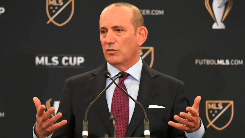 MLS commissioner Don Garber speaks to the media during a State of the League Address in Toronto last week.