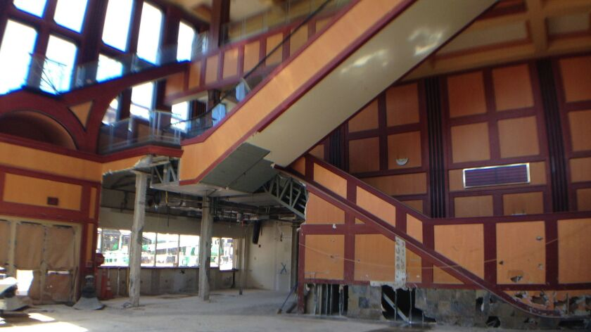The interior of the theater building is being gutted to make way for the new restaurants and auditoriums.