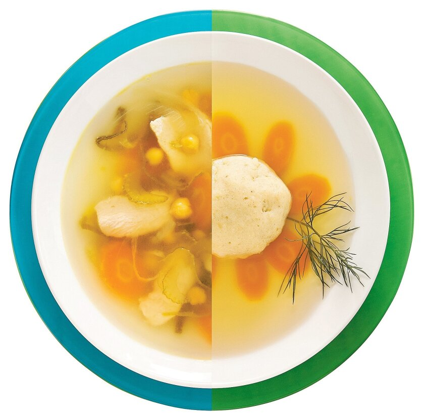 From the Sephardic style of cooking is Moroccan Passover Soup (left) and representing the Ashkenazi style is a traditional Matzo Ball Soup (right).