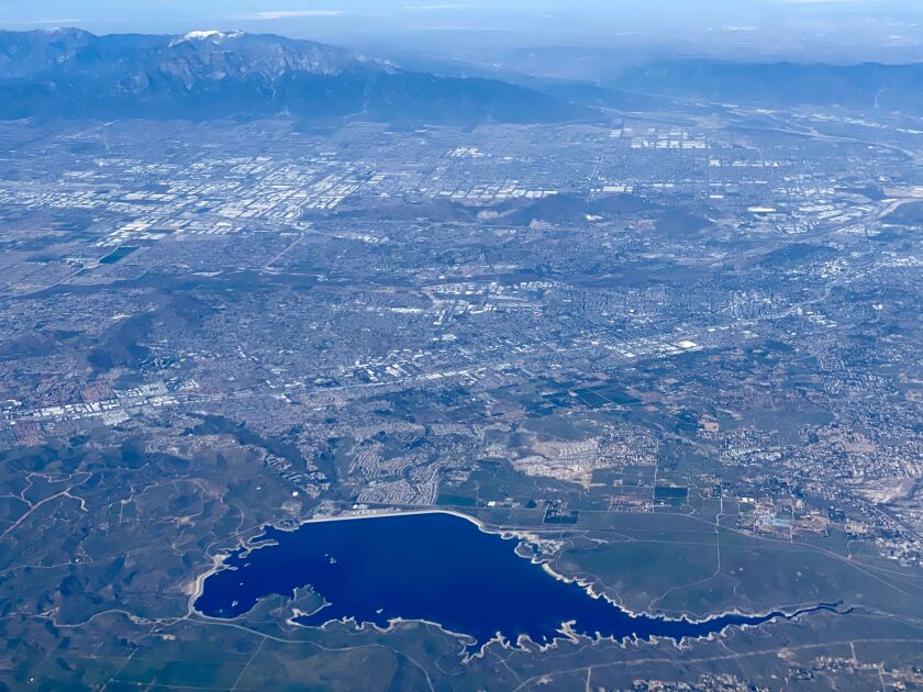 Aerial view of Lake Mathews in Riverside County