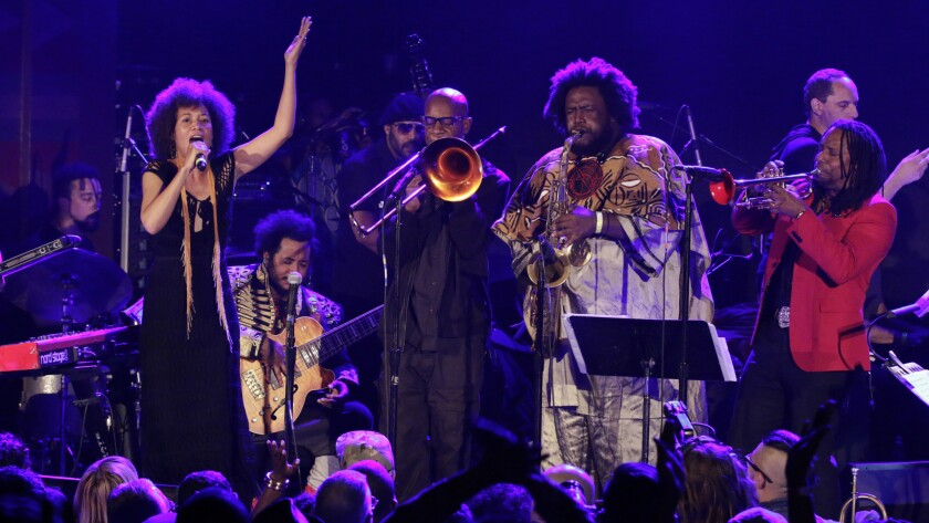 Los Angeles powerhouse Kamasi Washington, on saxophone, and his big band were joined by vocalist Patrice Quinn, Ryan Porter on trombone and Dontae Winslow on trumpet, among many others, at the sold-out Regent on Monday.