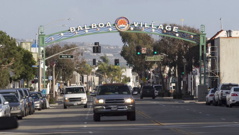The newly erected archway for Newport Beach's Balboa Village near the Balboa Fun Zone on the Balboa