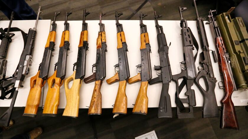 Some of the nearly 800 guns, including AK-47s and an anti-tank launcher, turned in at a recent LAPD
