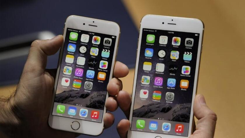 The iPhone 6 and 6 Plus at Apple's launch event in Cupertino, Calif., last year