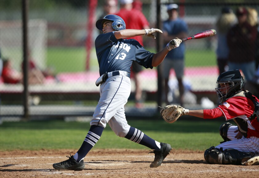 Madison's Victor Arreola strokes a double in the Warhawks' 10-run fourth inning.