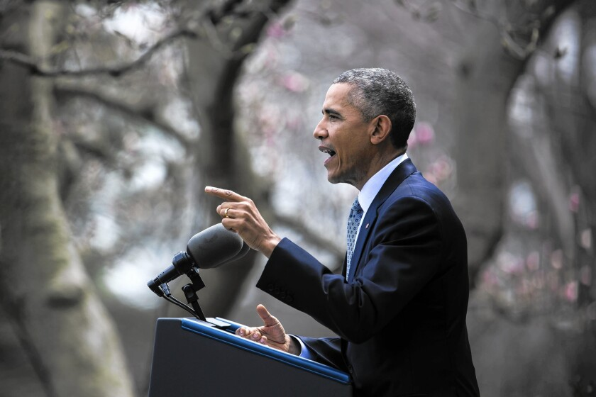 President Obama speaks in the Rose Garden about nuclear negotiations with Iran. He said the two alternatives to the agreement, more sanctions or bombing Iran's nuclear facilities, were both unpalatable.