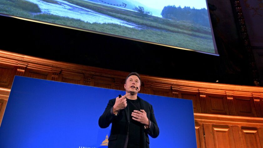 Elon Musk speaks comfortably at a climate change summit in 2015.