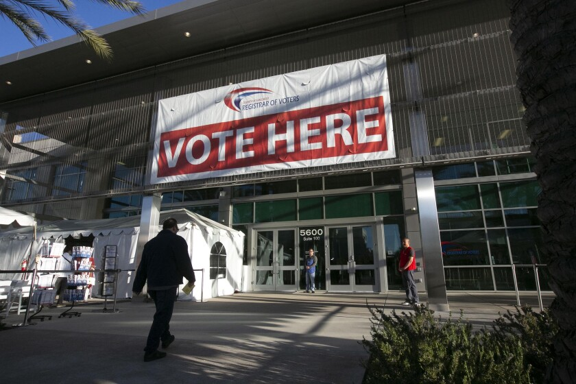 The San Diego County Registrar of Voters office in Kearny Mesa on election day, March 3.