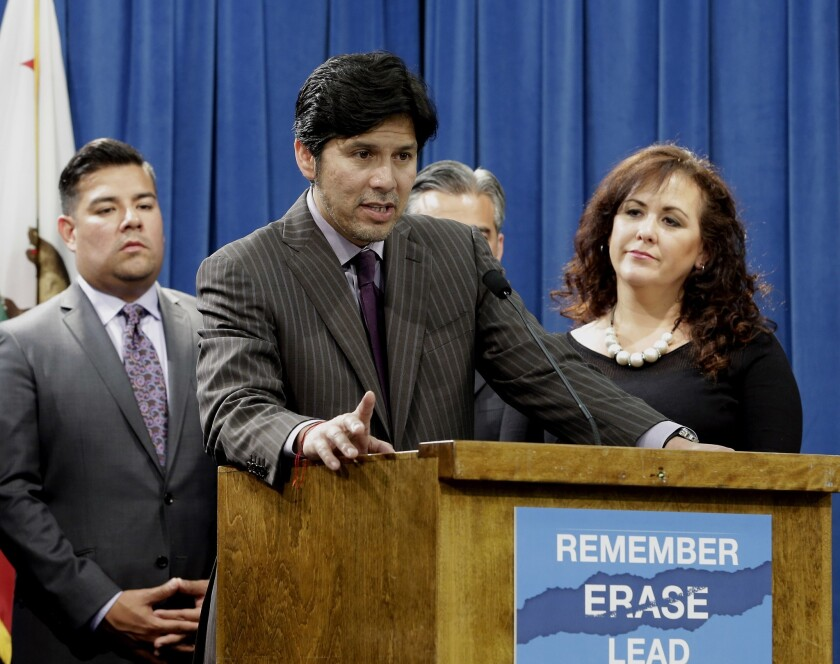 "Assemblywoman Lorena Gonzalez said the sick-leave bill ""would expand workers rights in a way that is unprecedented in this state or in this nation."" Above, Gonzalez with state Sens. Kevin de Leon, center, and Ricardo Lara at a June news conference."