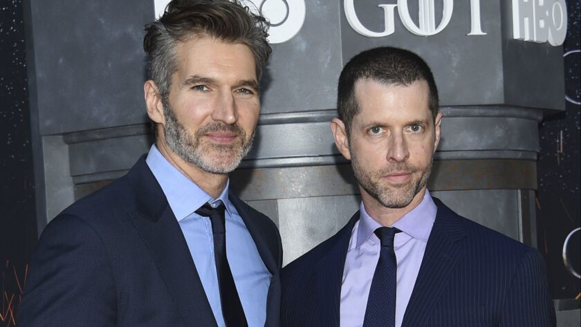 David Benioff, left, and D.B. Weiss