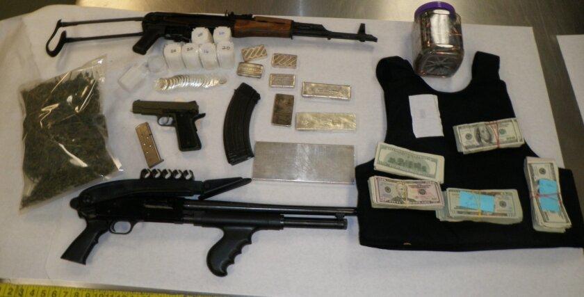 Items seized during a raid in Pacific Beach.