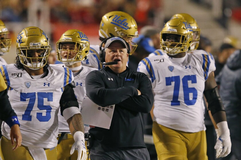 UCLA coach Chip Kelly looks on in the second half during a game against Utah on Nov. 16, 2019, in Salt Lake City.