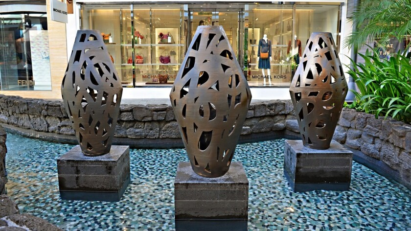 """Hawaii artist Stephen Freedman's three ceramic creations are named """"Memory Containers."""""""