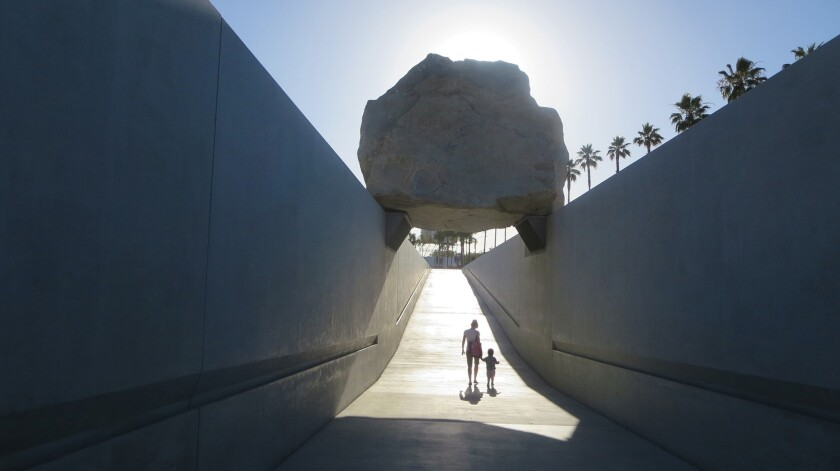 A scene from Doug Pray's doc 'Levitated Mass'