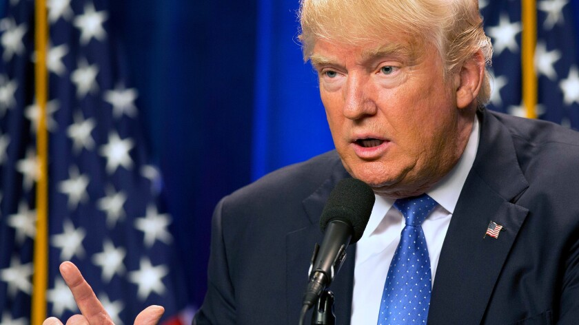 Donald Trump speaks at Saint Anselm College in Manchester, N.H., on June 13.