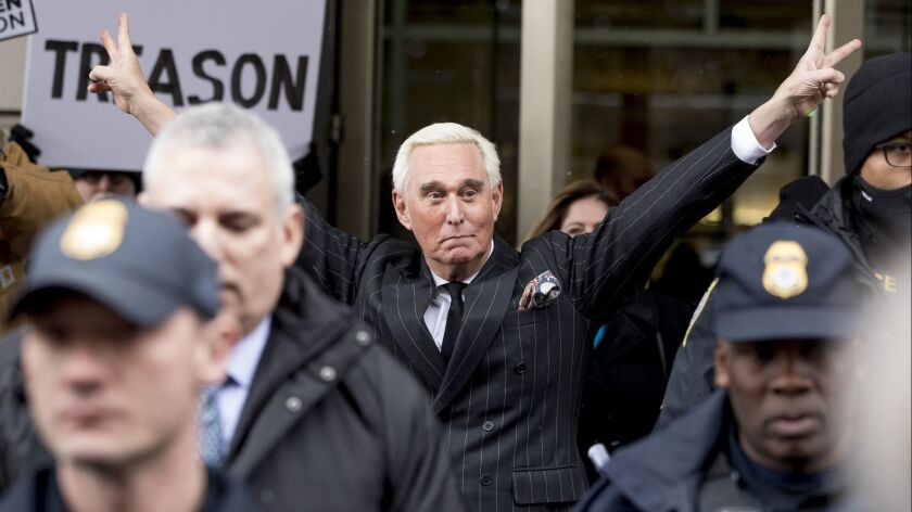 Roger Stone leaves federal court in Washington on Feb. 1, 2019.
