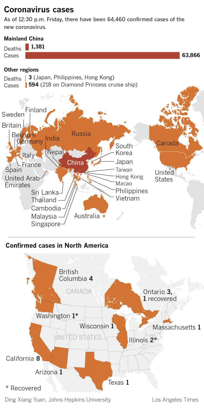 A map showing the spread of coronavirus around the world