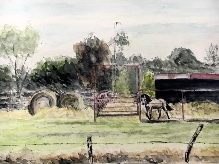 A Texas landscape watercolor by Max Needham, available by donation