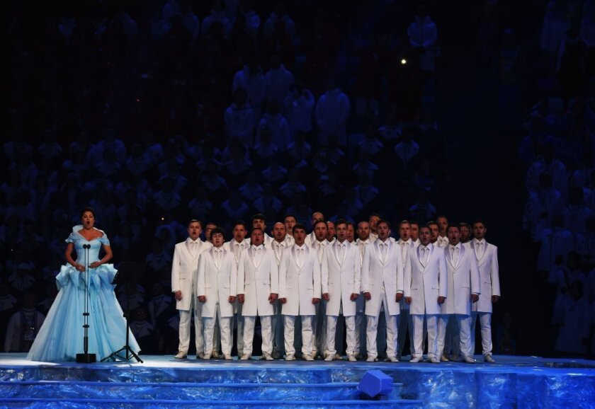 Soprano Anna Netrebko performs during the opening ceremony of the 2014 Winter Olympics in Sochi, Russia, on Friday.