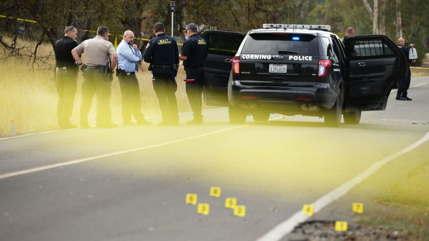 Investigators converse near a police vehicle after an shooting attack last year in Rancho Tehama, Calif., that left five people dead and 14 wounded. Shooters cause more deaths and injuries when they use a semiautomatic rifle, new research suggests.