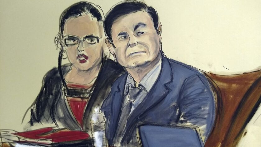 """In this courtroom sketch, Joaquin """"El Chapo"""" Guzman sits at the defense table with his interpreter in a federal courtroom in Brooklyn on Monday. The jury began deliberating shortly after 1 p.m. Eastern."""