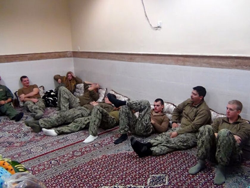 The detained U.S. Navy sailors in an undisclosed location in Iran.