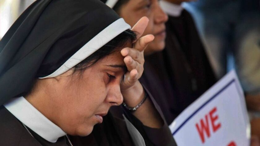 A Catholic nun cries during a September sit-in in Kochi, India, demanding the arrest of a bishop accused of rape.