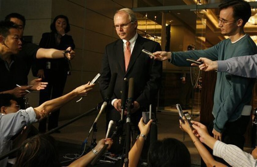 U.S. Assistant Secretary of State and top nuclear negotiator Christopher Hill speaks to media after his meetings with North Korea's chief nuclear negotiator Kim Kye Gwan at the American Embassy on Thursday, Dec. 4, 2008, in Singapore. (AP Photo/ Wong Maye-E)