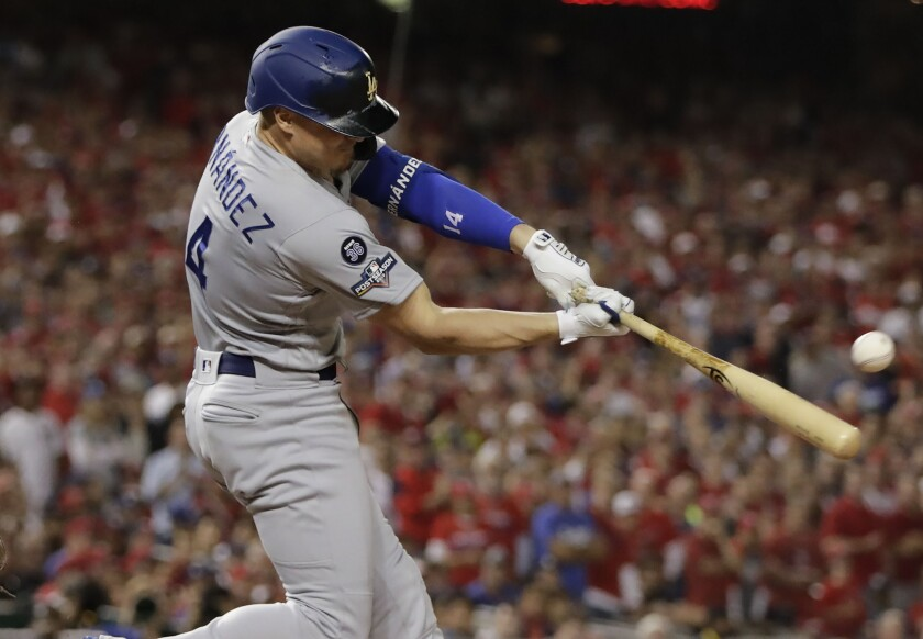 Enrique Hernandez will start in left field for the Dodgers in Game 5 of the NLDS.