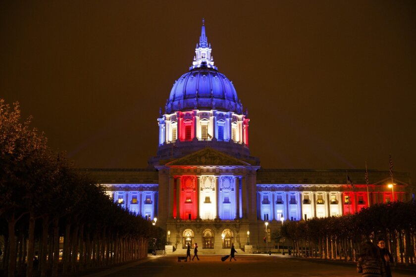 San Francisco City Hall in U.S. flag colors on Sept. 11, 2016.