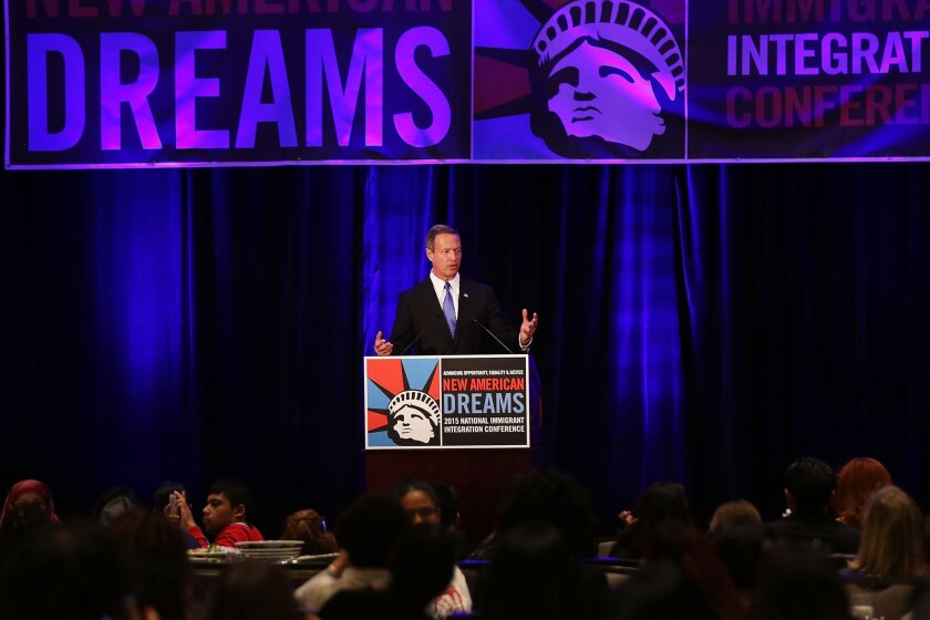 Democratic presidential candidate and former Maryland Gov. Martin O'Malley speaks at the National Immigrant Integration Conference in New York City.