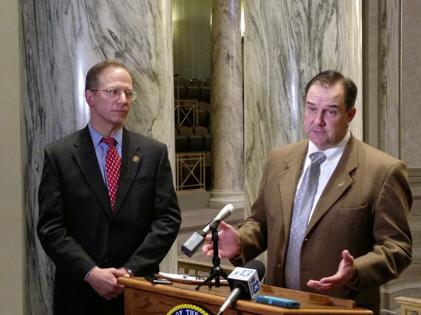 Republican Missouri state Sens. Bob Onder, left, and Mike Kehoe at the state Capitol in Jefferson City on March 9.