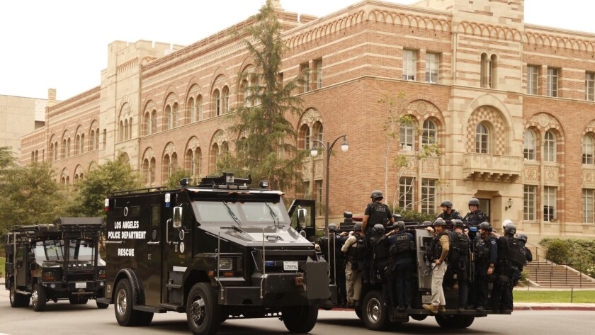 Police respond to the UCLA campus after a shooting Wednesday.