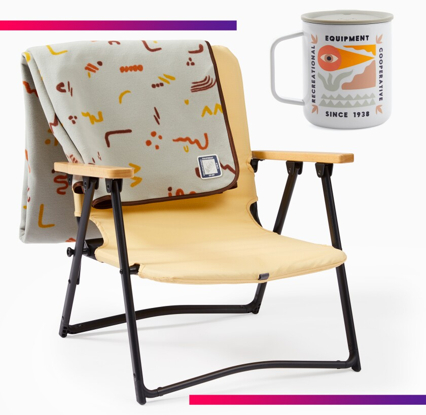 REI camping chair and mug