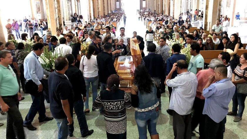 A mass is held for PRD deputy candidate, Antonia Jaimes Moctezuma, in the cathedral of Chilapa on Fe