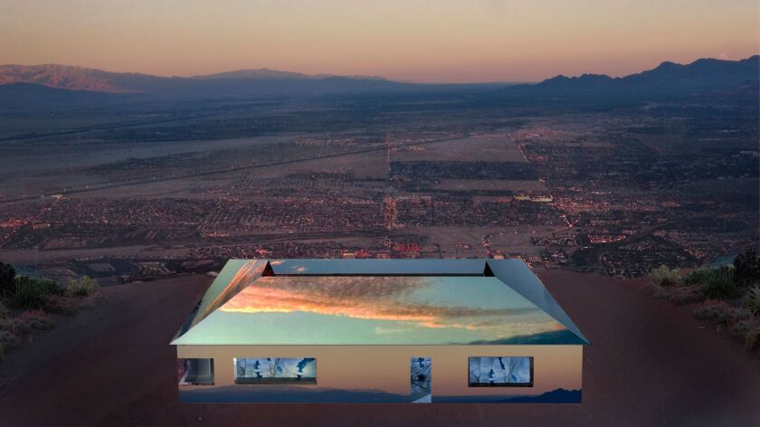 """A rendering of Doug Aitken's """"Mirage,"""" a sculptural installation in the form of a ranch house that's fully mirrored, inside and out."""