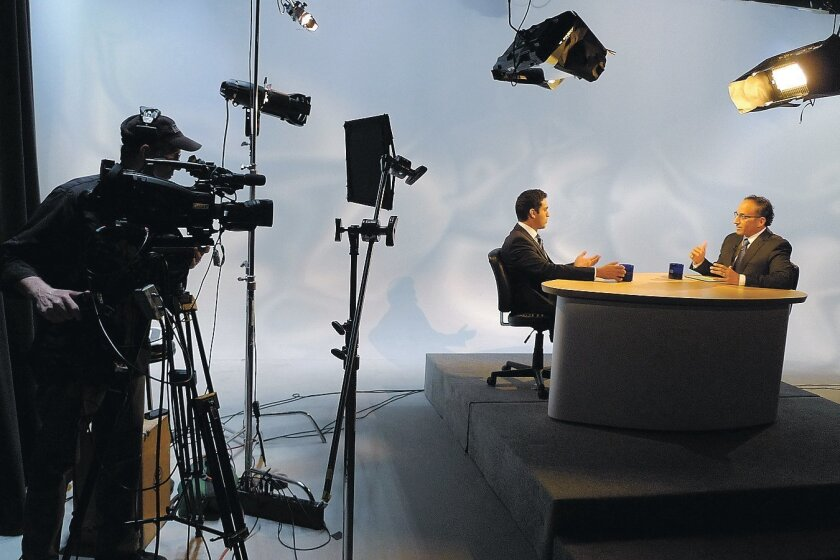 """Matt Alioto on camera (from left), Dr. Alexander  Khalessi and Dr. David Granet in the UCSD-TV studio for a taping of """"Health Matters."""""""