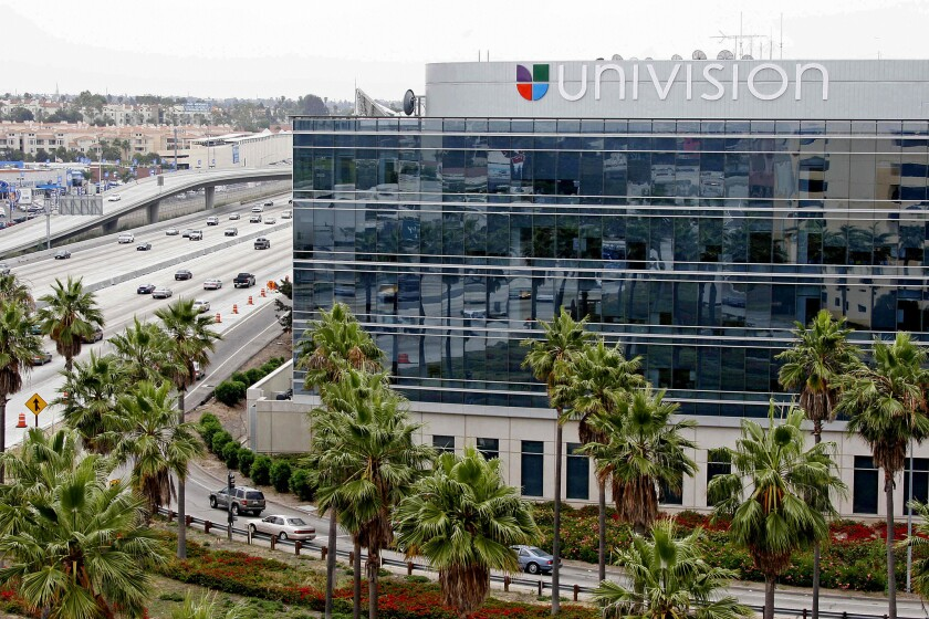 A sidelong view of Univision's glassy building along the 405 Freeway in Westchester.