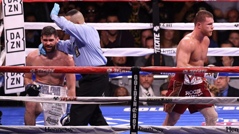 Canelo Alvarez reacts after the technical knock out of Rocky Fielding.