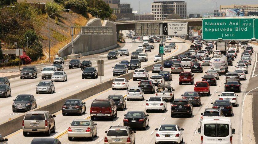 405 Freeway traffic at South La Tijera Boulevard in Los Angeles on Aug. 2.