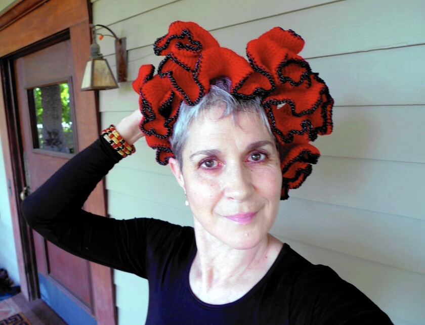 Writer Margaret Wertheim, shown at her Highland Park home, started the Institute for Figuring, which sponsored the Crochet Coral Reef project.