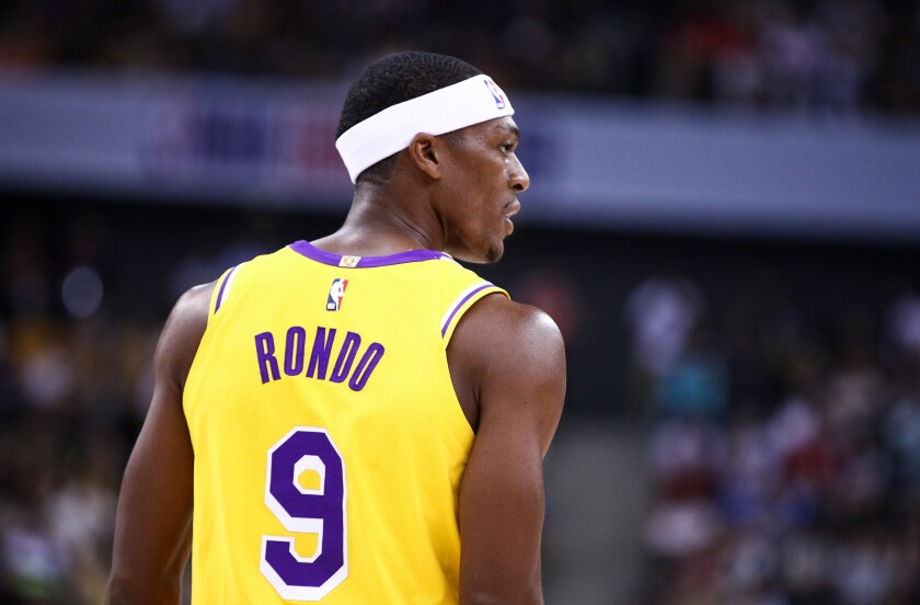 Lakers guard Rajon Rondo on the court against the Brooklyn Nets.